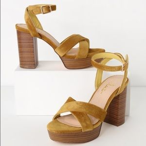 Mustard Velvet Suede Platform Ankle Strap Heels